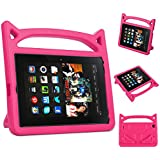 Fire HD 8 Case- 5th 6th 7th Generation Kids Case Amazon Kindle Fire HD 8 Keyboard Case 2016/2017 (Rose)