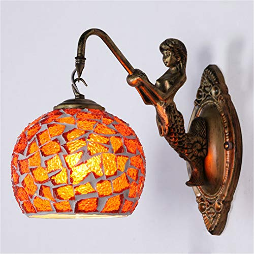 Mediterranean Style Decoration Turkish Mosaic Lamps Handmade Stained Glass Sconces Antique Wall Lights for Home Lighting Blue