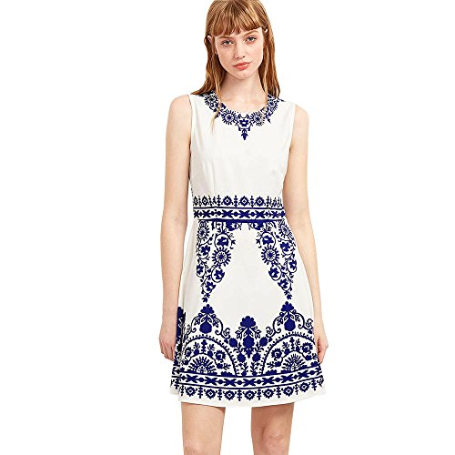 Blackobe Womens Chinese Classical Blue And White Porcelain Pattern Printed Vintage Dress (L, White)