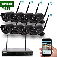OOSSXX 8-Channel HD 960P Wireless Network/IP Security Camera System(IP Wireless WIFI NVR Kits),8Pcs 1.3 Megapixel Wireless Indoor/Outdoor IR Bullet IP Cameras,P2P,App,No HDD