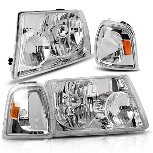 AUTOSAVER88 For 01 02 03 04 05 06 07 08 09 10 11 Ford Ranger Headlight Assembly+Corner light,OE Projector Headlamp,Chrome housing,One-Year Limited Warranty(Driver and Passenger Side,4pcs)