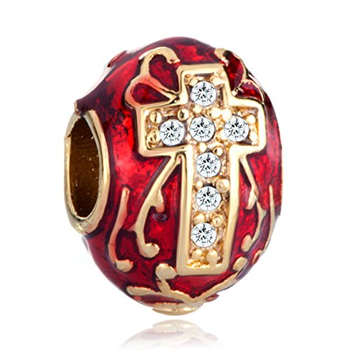 Pugster Red Drip Gum Celtic Cross Clear Swarovski Elements Crystal Faberge Egg Beads Fits Pandora (Red Celtic Cross)