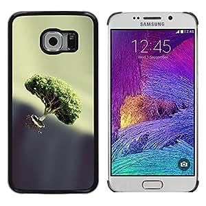 CASECO - Samsung Galaxy S6 EDGE - Bonsai Float - Delgado Negro Plástico caso cubierta Shell Armor Funda Case Cover - Bonsai Float