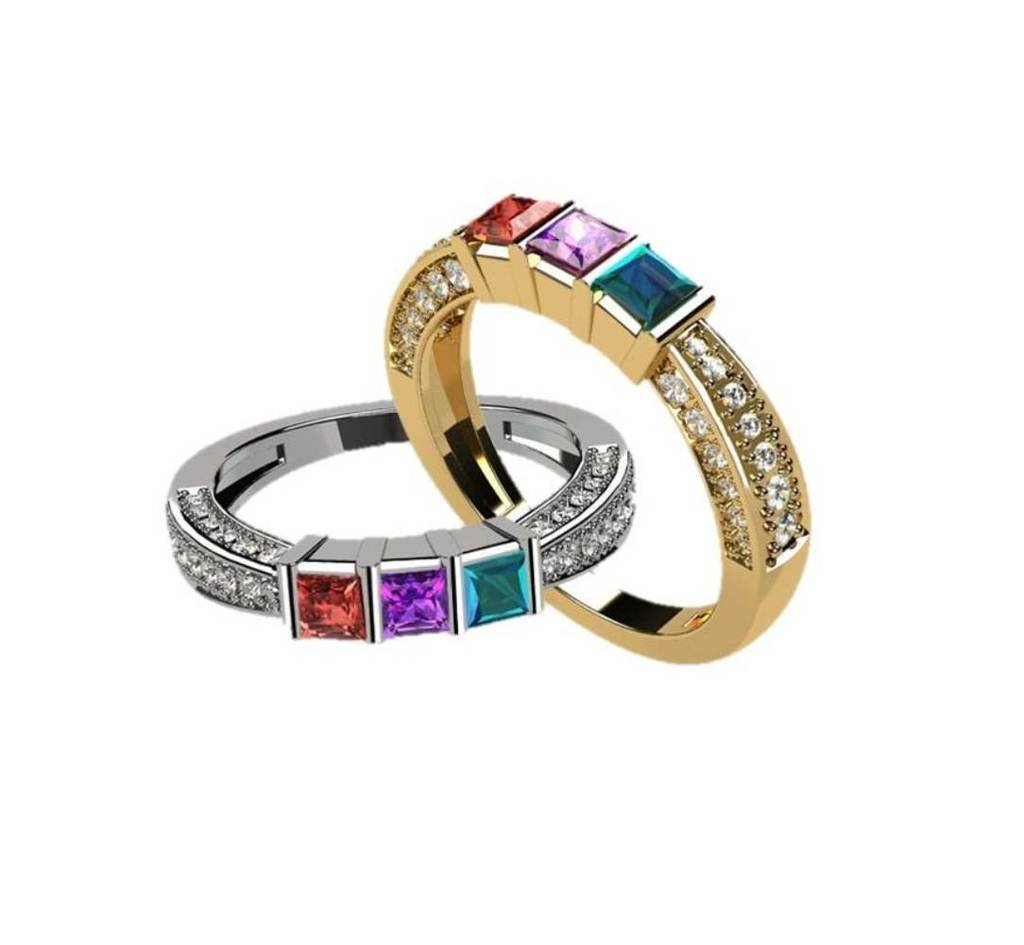 NANA Princess with accent CZs on 3 Sides Mother's Ring 1-6 Stones - 10k Yellow Gold - Size 5.5
