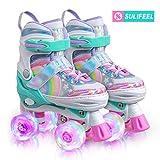 Sulifeel Rainbow Unicorn 4 Size Adjustable Light up Roller Skates for Girls Boys and Kids