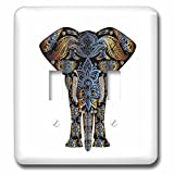 3dRose Uta Naumann Watercolor Illustration Animal - Fantasy Colorful Floral Mandala Animal Elephant Africa on White - Light Switch Covers - double toggle switch (lsp_275034_2)