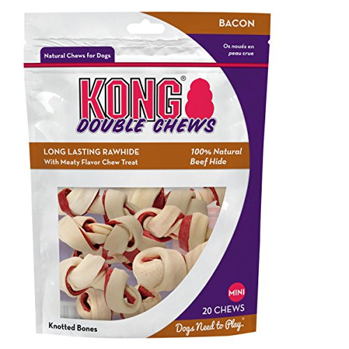 Knotted Rawhide Flavored - Kong Double Chews Long Lasting Rawhide, Bacon Mini 20 Chews by Jakks Pacific