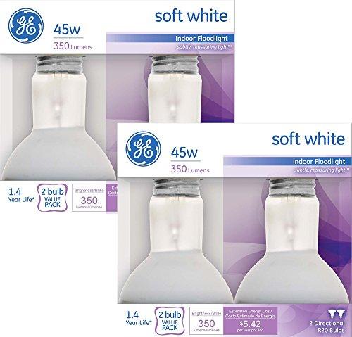 GE Soft White Indoor Floodlight, 45 Watt, 350 Lumens, R20 Shape (4 Bulbs)