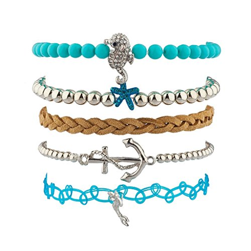 [Lux Accessories Under the Sea BFF Best Friends Forever Arm Candy Set (5PC)] (Seahorse Costume Women)