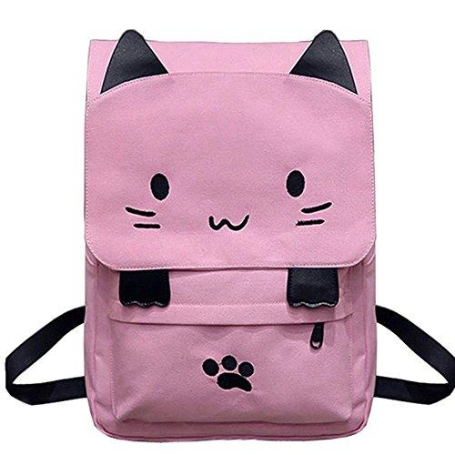 VHVCX Sac à dos en toile mignonne de chat de broderie Sac d'école pour jeunes filles à dos Ears Casual Grandes Sacs Rose Mochila Pink