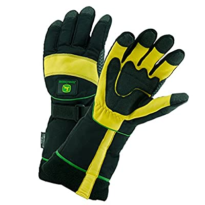 John Deere JD98540 Waterproof Grain Deerskin Leather Ski Gloves with Thinsulate Lining and Extended Cuff, 1 Pair