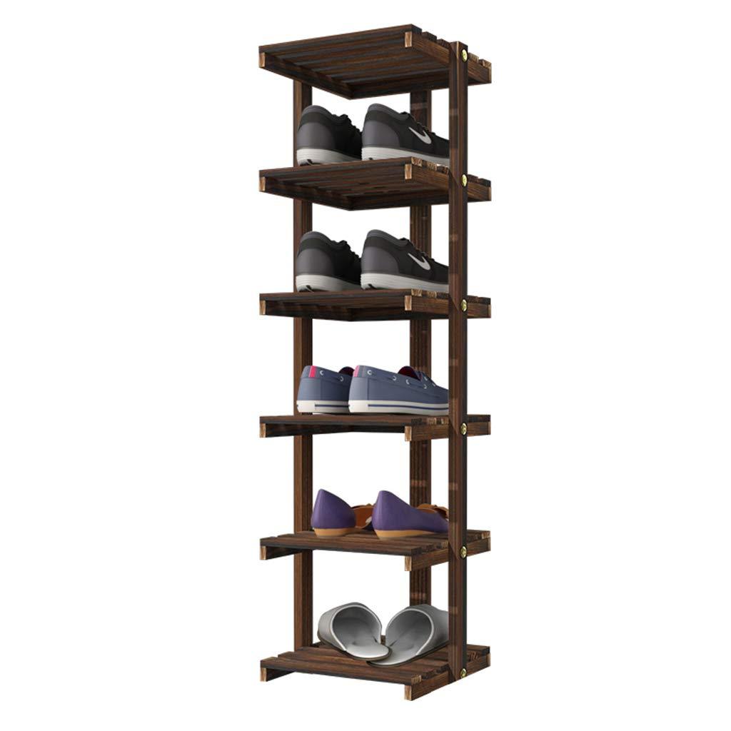Piccola scarpiera stretta in legno massello, multi-strato casa consigliata scarpiera armadio multifunzionale soggiorno nero (dimensioni : 4 tier) uus