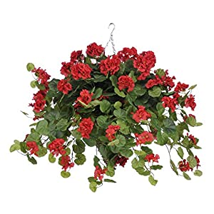House of Silk Flowers Artificial Red Geranium (WT) in Beehive Hanging Basket 1