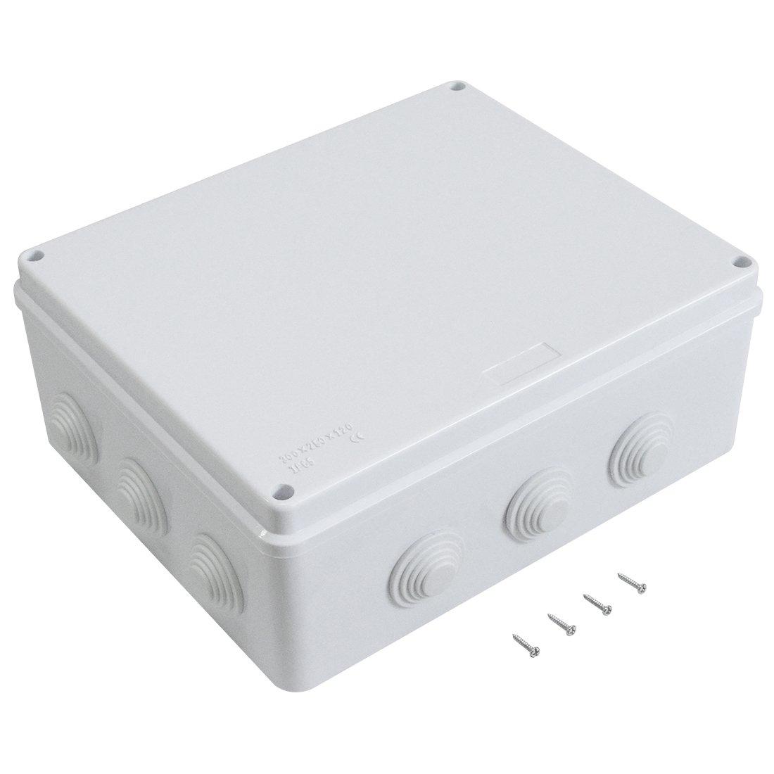 LeMotech ABS Plastic Dustproof Waterproof IP65 Junction Box Universal Electrical Project Enclosure White 5.9' x 5.9' x 2.8'(150mmx150mmx70mm)