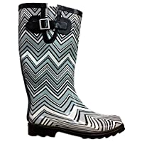 Own Shoe Womens Rain Boots Chevron Zig Zag Wellies Flat Wellington Knee High Festival
