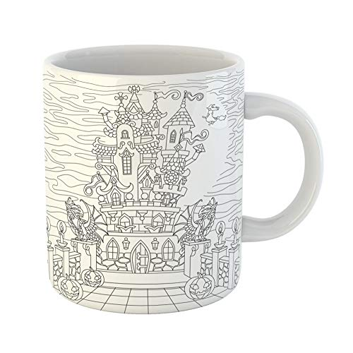 Emvency Coffee Tea Mug Gift 11 Ounces Funny Ceramic Halloween Coloring Page Spooky Castle Pumpkins Witch Gothic Statues of Dragons Gifts For Family Friends Coworkers Boss Mug]()