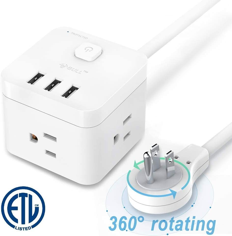 BULL Surge Protector Power Strip with USB,Desktop Power Strip with 3 AC Outlets 3 USB Ports Up to 1875W,5Ft Extension Cords 360°Rotating Flat Plug for Cruise Ship Travel Home Office【2020 Upgraded】