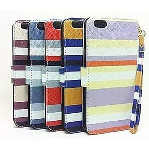 GDW muñequera raya colorida cuerpo completo estuche de cuero pu con ranura para tarjeta y la función de la carpeta para el iphone 6 (colores , Drak Red