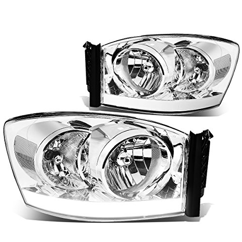 Chrome Clear Headlight Assembly (Dodge Ram 3rd Gen Old Body Pair of Chrome Housing Clear Corner Headlights + LED DRL)