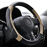 Elantrip Sport Leather Steering Wheel Cover 14 1/2 inch to 15 inch Universal, Padded Soft Grip Breathable for Car Truck SUV Jeep, Anti Slip Odorless Black and Beige