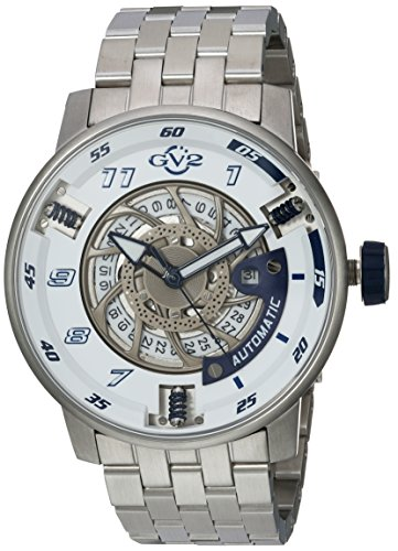 GV2 by Gevril Men's 'Motorcycle Sport' Automatic Stainless Steel Casual Watch, Color:Silver-Toned (Model: 1301B)