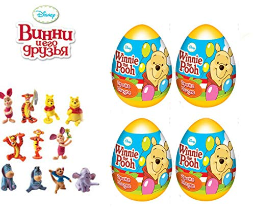 [RusToyShop] 4psc egg disney Winnie the Pooh birthday toys favor supplies cake toppers in Shells Capsules