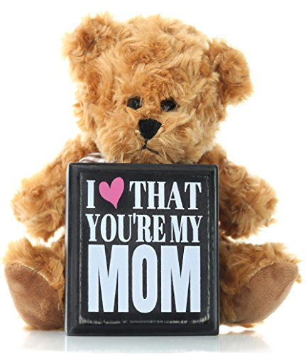 Mom Gifts from Daughter Son or Kids for Birthday Christmas Thank You Gift - Teddy Bear and Mom Plaque Best Present for Mother in Law Step Mom or First Mothers Day for New Moms ()