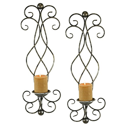 Metal Rustic Sconce (Metal Scroll Wall Candle Sconce Rustic Antique Vintage Unique Decor, Set of 2)
