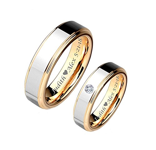 Personalized Silver & Gold Two Tone Tungsten Couple's Ring Set Custom Engraved Free ()