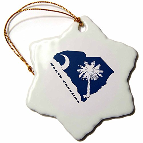 (3dRose orn_58762_1 South Carolina State Flag in The outline Map and Letters for South Carolina Snowflake Decorative Hanging Ornament, Porcelain, 3-Inch)
