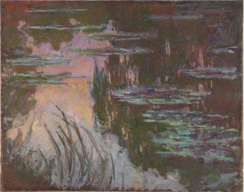 'Water-Lilies, Setting Sun 1907 By Claude Monet' Oil Painting, 18x23 Inch / 46x58 Cm ,printed On High Quality Polyster Canvas ,this High Resolution Art Decorative Prints On Canvas Is Perfectly Suitalbe For Wall Art Decor And Home Gallery Art And - Aqua Stripe Wall Sconce
