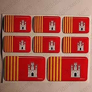 Pegatinas Terrassa Tarrasa España Resina, 8 x Pegatinas Relieve 3D Bandera Terrassa Tarrasa España Adhesivo Vinilo: Amazon.es: Coche y moto
