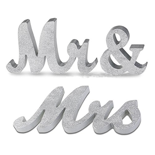 Baigio Woman Mr and Mrs Sign Wedding Sweetheart Table Letters Decorations Gift for Wedding Shower Party (Fmt Spot)