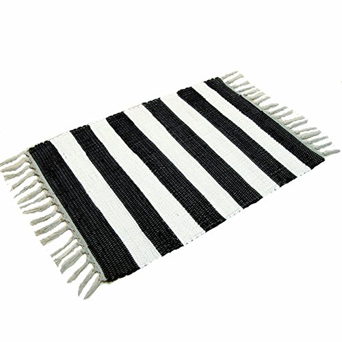 100% Cotton Black/White Striped Area Rugs for Kitchen, Living Room, Entry Way, Laundry Room, Bedroom, 23.6''x51.2''