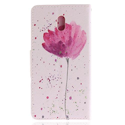 orchidée Nokia 3 Premium pourpre Fleur Coque 3 Housse Cuir Etui Flip Rétro Coque PU Etui BONROY pour Portefeuille Nokia Support colorée wHfq5w