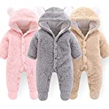 Haokaini Newborn Bear Warmer Snowsuit Cotton Fleece Hooded Romper Jumpsuit for Baby Girls Boys
