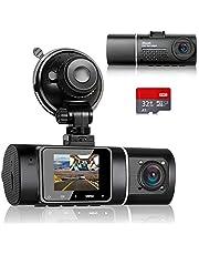 Abask Autocamera met 32G SD-kaart, 170° Wijde Hoek Voorkant en 140° Wijde Hoek Cabine Full HD Dubbele 1080P Dash Cam, G-Sensor, Lusopname, HDR, Parkeermonitor