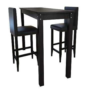 vidaXL Set de 1 table carré table de cuisine et 2 tabourets noir MDF bois  noir