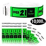 Goldistock 3/4'' Tyvek Wristbands Over 21- Value Pack Neon Green 10,000 Ct.- Easy Drinking Age Identification