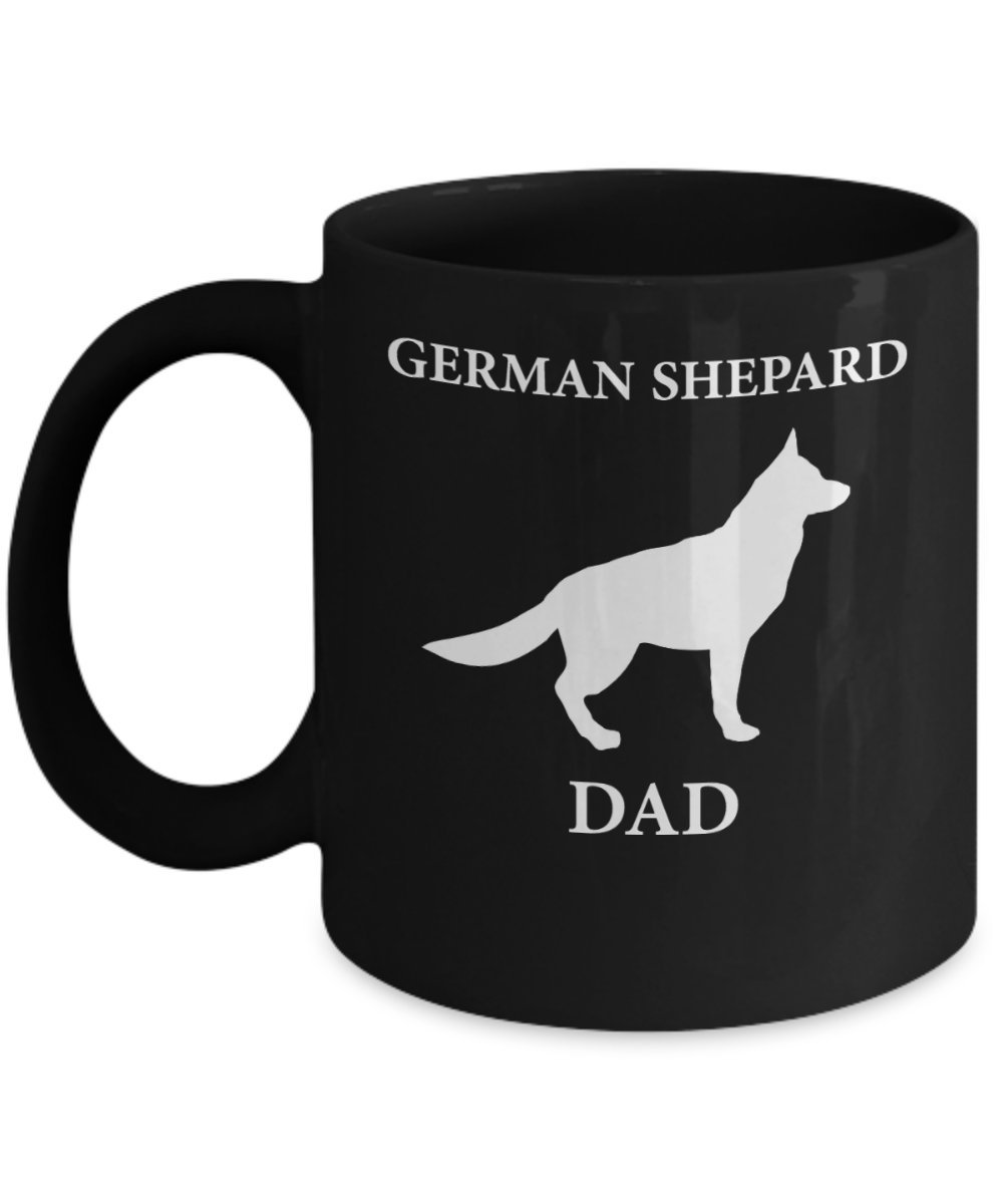 German Shepard Dad Mug (Black) 11oz German Shepard Coffee Mug - This German Shepard Mug Is The Perfect German Shepard Gift Mug Merchandise - German Shepard Dad Coffee Mug - German Shepard Gift for Dad Trinkets and Novelty