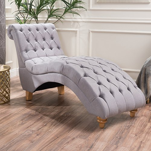 Fabric Lounge Chaise (Bellanca Fabric Tufted Chaise Lounge Chair (Light Grey))