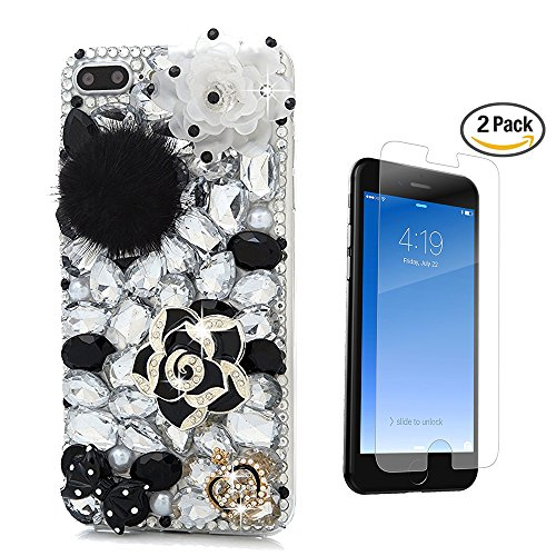 iPhone 6 Plus Case, STENES [Luxurious Series] 3D Handmade Crystal Sparkle Bling Case with Screen Protector  Retro Bowknot Anti Dust Plug – Pretty Ros…