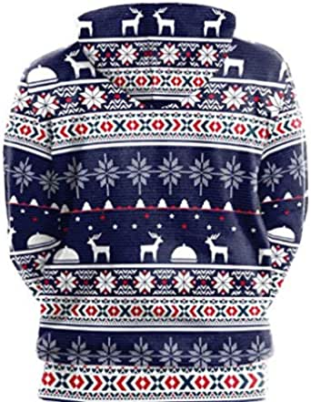Unisex Christmas printed Sweatshirt Loose fitting Hoodies Streetwear Pullover Coats Grey SB101-010