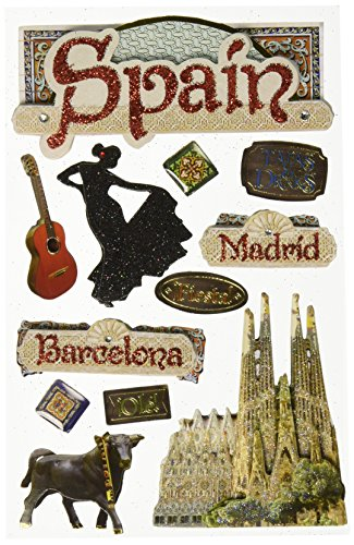 Paper House Productions STDM-0191E 3D Cardstock Stickers, Spain - Scrapbooking Spain