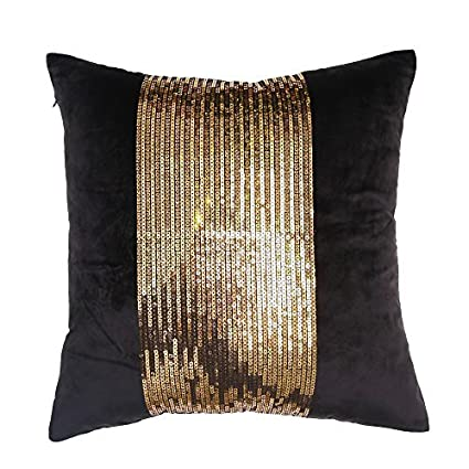 Amazon VM VALERY MADELYN Black Gold Velvet Pillow Covers 40x40 Fascinating Black And Gold Decorative Pillows
