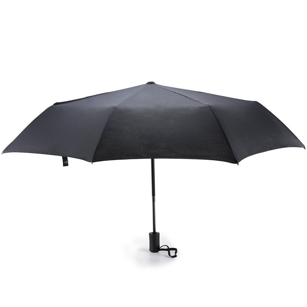 Auto Open Close Umbrella 8 Ribs 210T Folding Business Anti UV Black Umbrella   B077CGZZDL