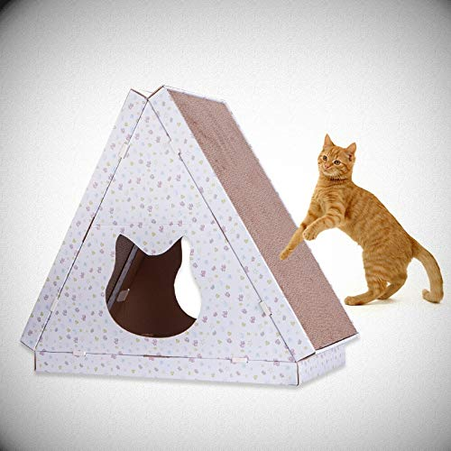 Pet bed- Creative Corrugated Paper Assembled Cat House Four Seasons Available Cat Litter Cat Scratch Board Dual-use Cardboard House Triangle Cat House