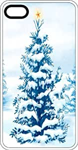 Snowy Christmas Tree With Star White Rubber Case for Apple iPhone 4 or iPhone 4s by lolosakes
