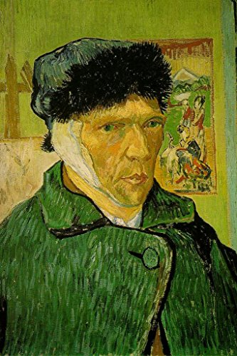 Vincent Van Gogh Self Portrait with Bandaged Ear 1889 Painting Laminated Dry Erase Sign Poster 12x18