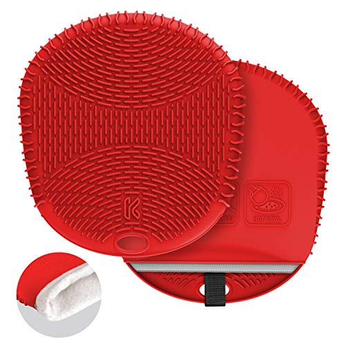 - Kozygear premium waterproof / heatproof / non-slip double layers (silicone & cotton) oven mitt pair set [Z4 red- purpose for oven use]
